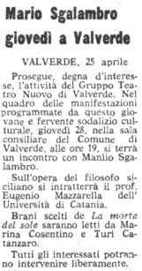 Manlio Sgalambro giovedì a Valverde