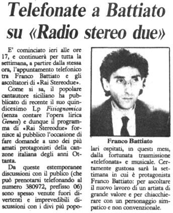Telefonate a Battiato su Radio stereo due
