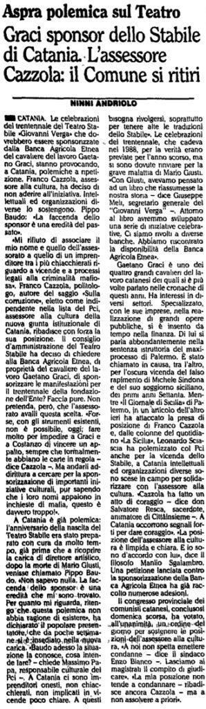 Graci sponsor dello Stabile di Catania. L'assessore Cazzola: il Comune si ritiri
