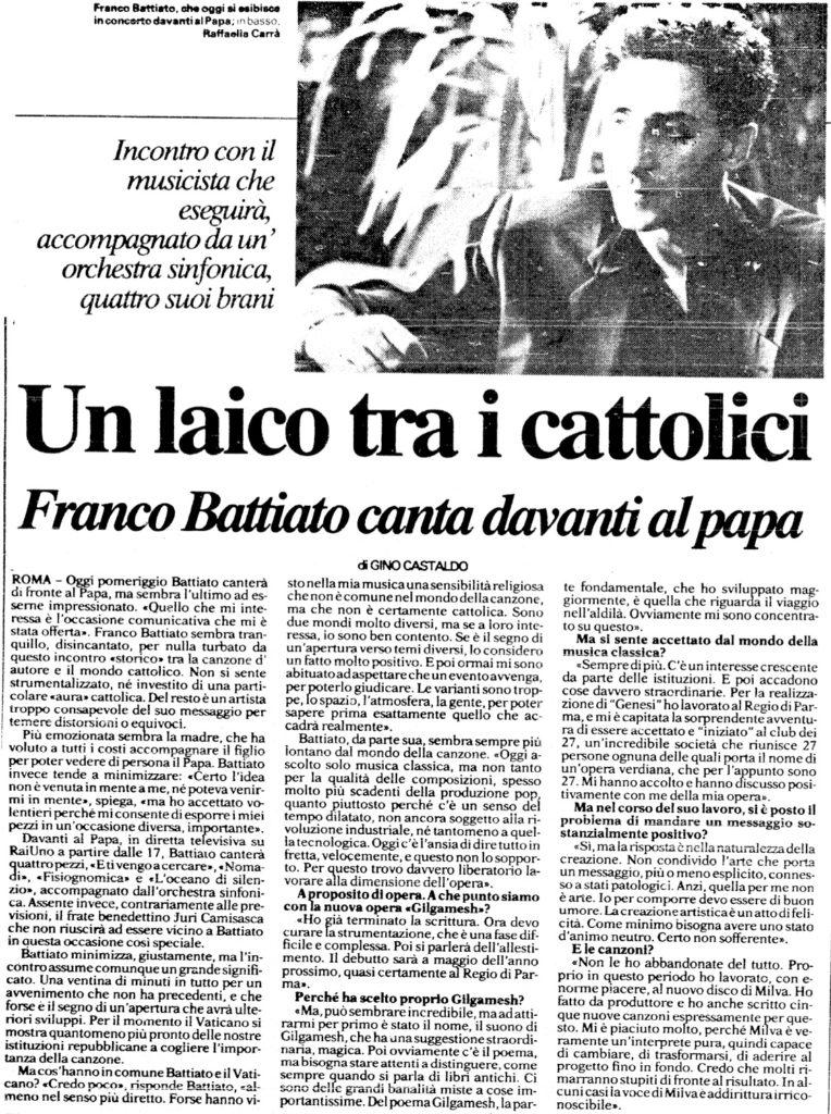 Un laico tra i cattolici