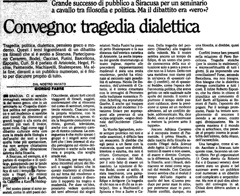 Convegno: tragedia dialettica