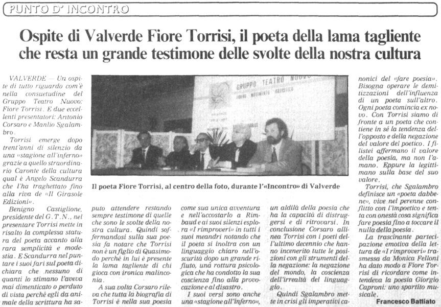 Ospite di Valverde Fiore Torrisi, il poeta della lama tagliente che resta un grande testimone delle svolte della nostra cultura