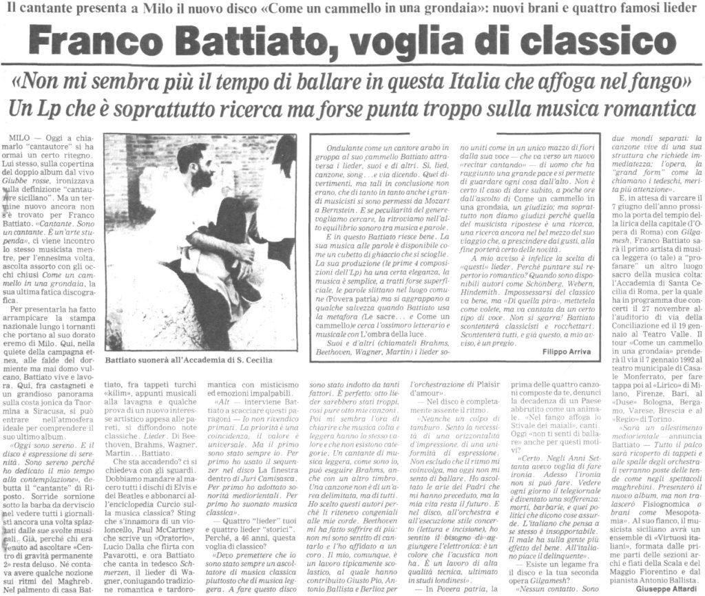 Franco Battiato, voglia di classico