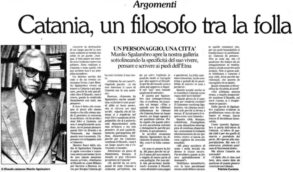 Catania, un filosofo tra la folla