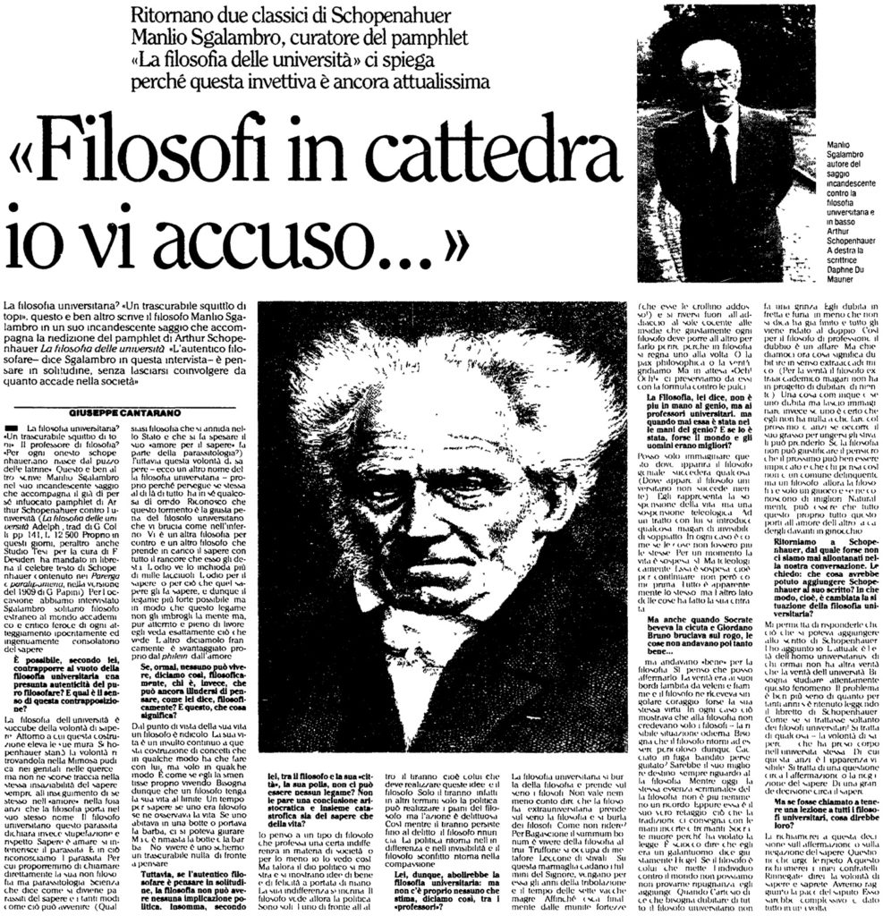 «Filosofi in cattedra io vi accuso…»