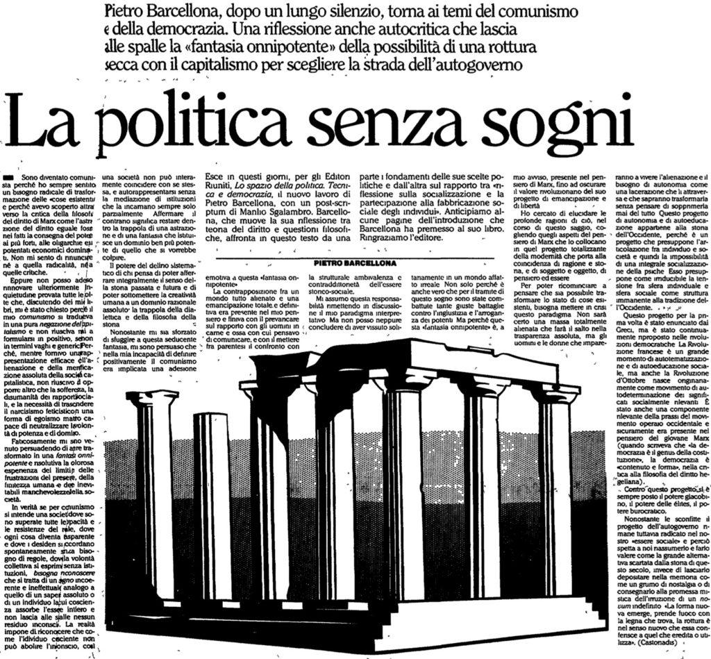 La politica senza sogni