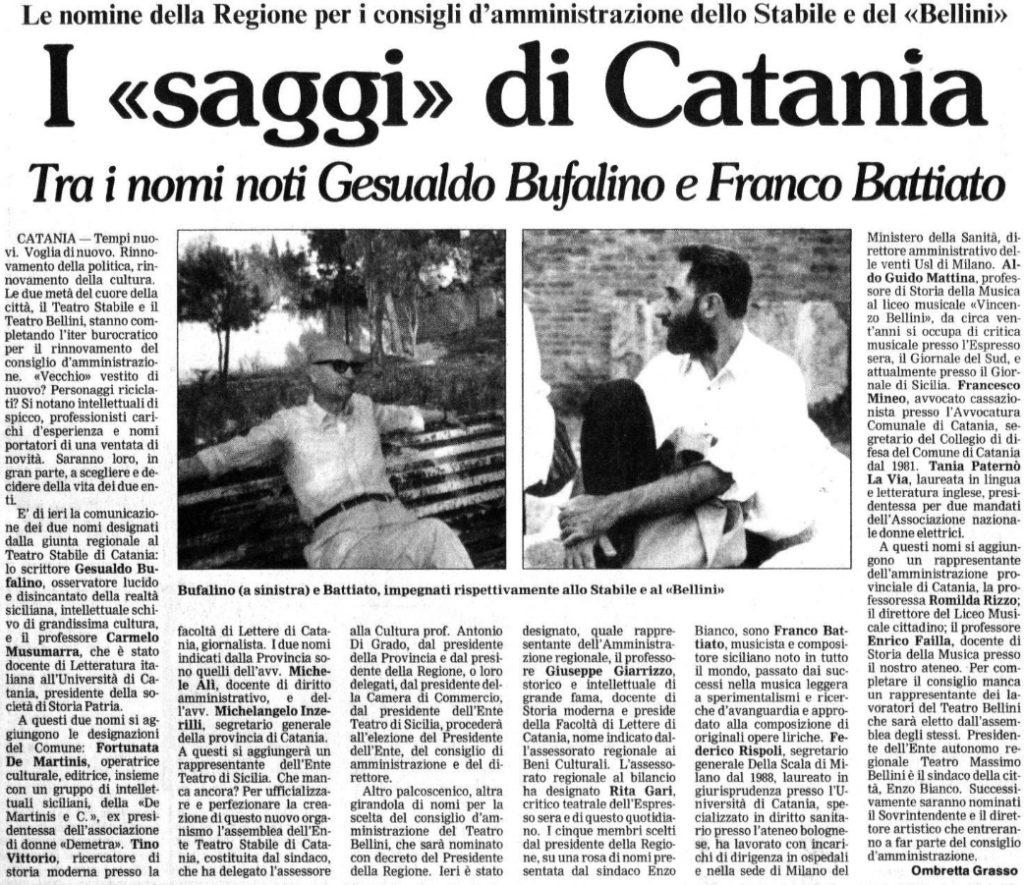 I «saggi» di Catania