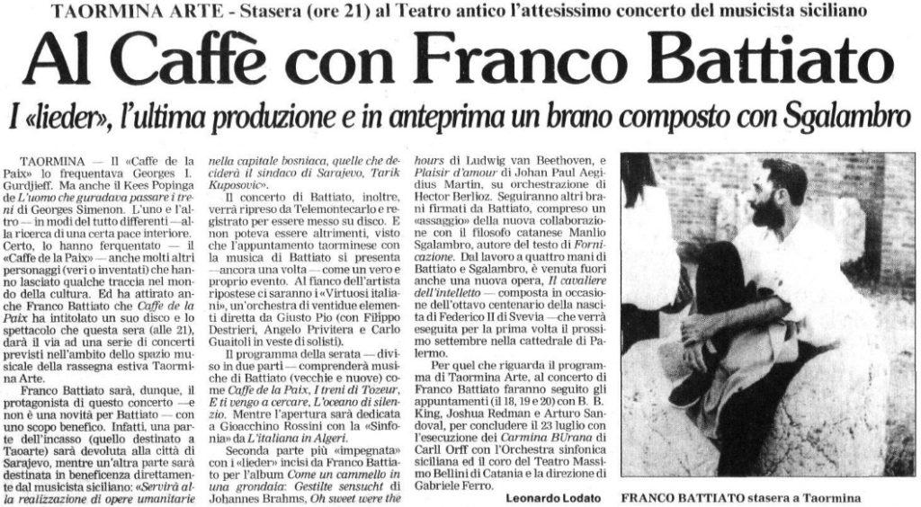 Al Caffè con Franco Battiato