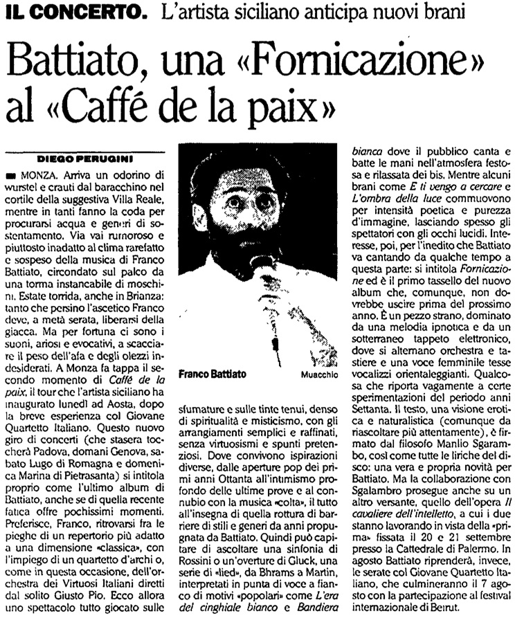 Battiato, una «Fornicazione» al «Caffé de la paix»