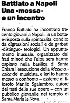 Battiato a Napoli Una «messa» e un incontro