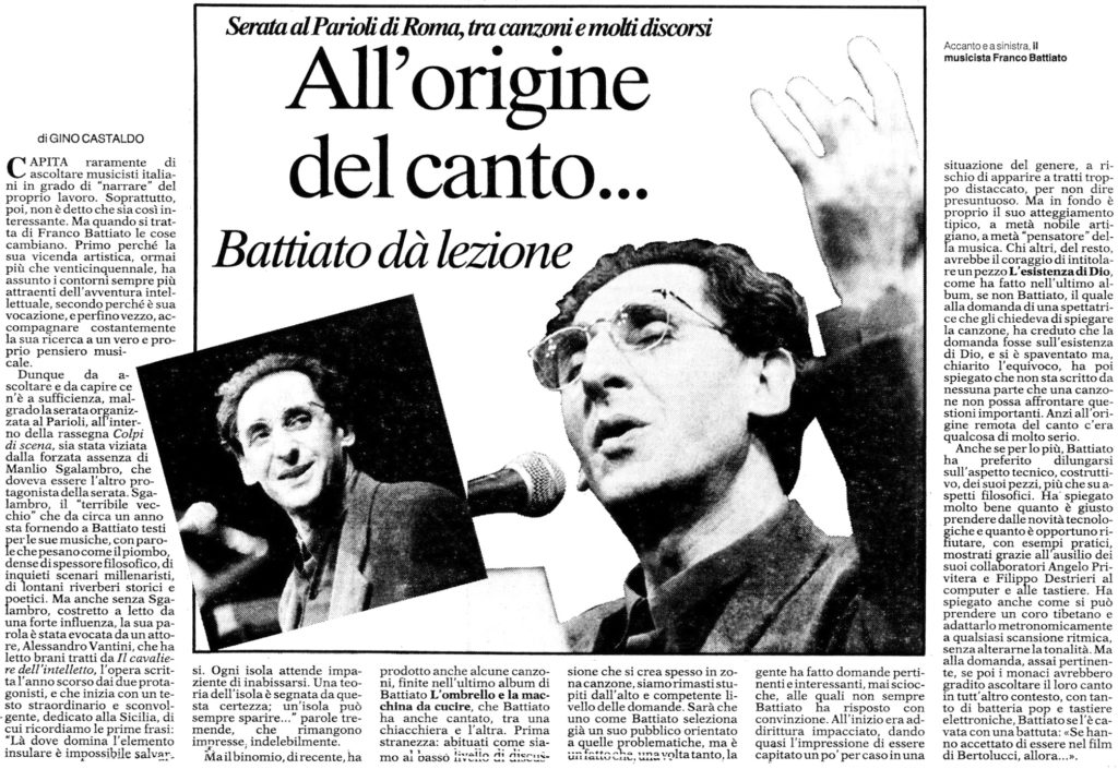 All'origine del canto…