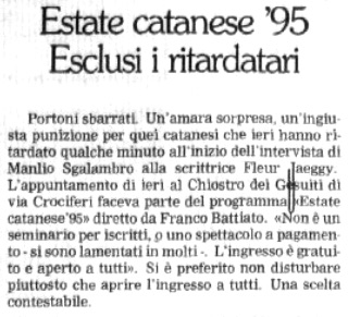 Estate catanese '95 Esclusi i ritardatari