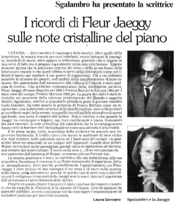 I ricordi di Fleur Jaeggy sulle note cristalline del piano