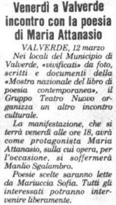 Venerdì a Valverde incontro con la poesia di Maria Attanasio