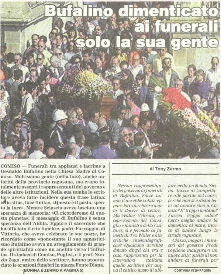 Bufalino dimenticato ai funerali solo la sua gente 1
