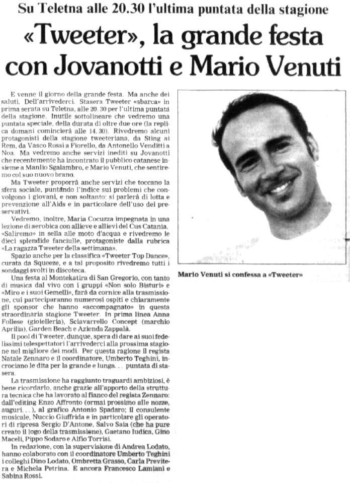 «Tweeter», la grande festa con Jovanotti e Mario Venuti