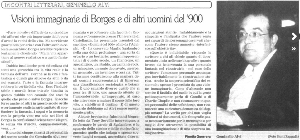 Visioni immaginarie di Borges e di altri uomini del '900