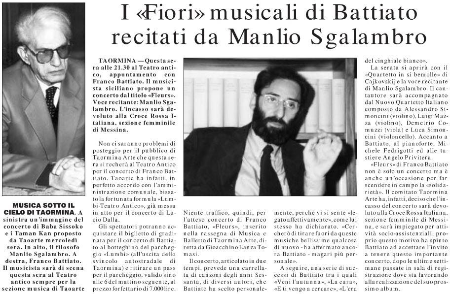 I «Fiori» musicali di Battiato recitati da Manlio Sgalambro