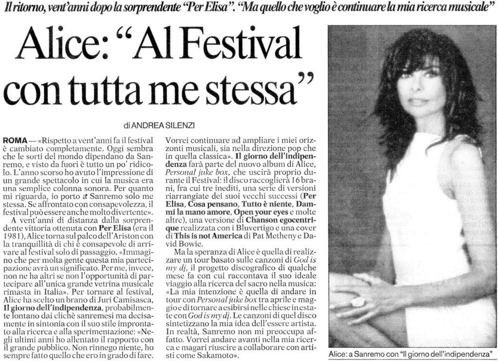 Alice Al Festival con tutta me stessa