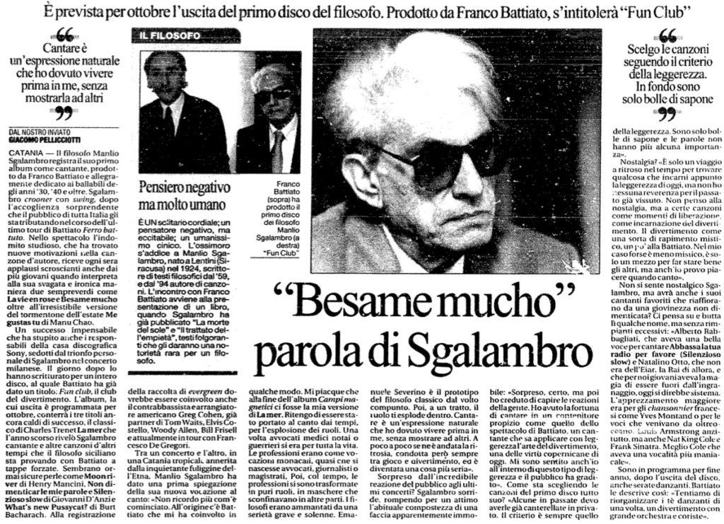 """""""Besame mucho"""" parola di Sgalambro"""