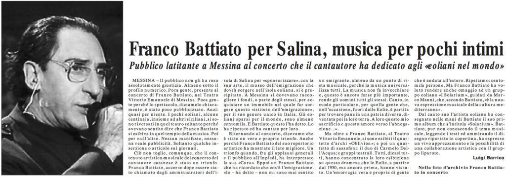 Franco Battiato per Salina musica per pochi intimi