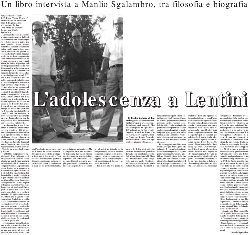 L'adolescenza a Lentini