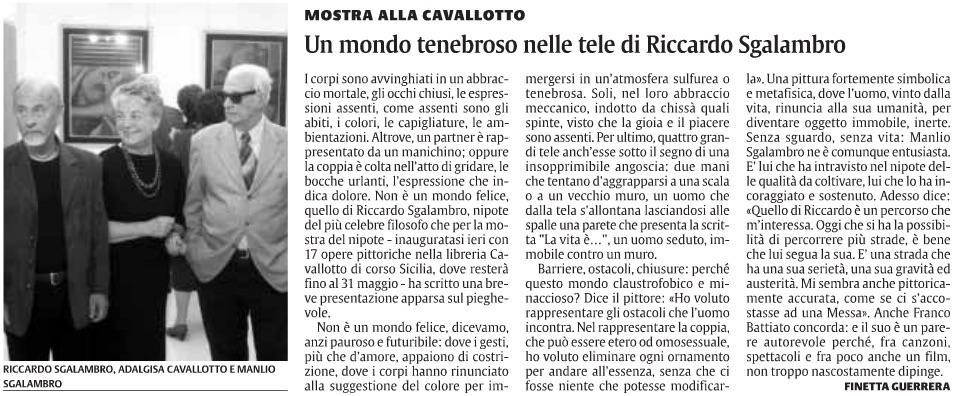 Un mondo tenebroso nelle tele di Riccardo Sgalambro
