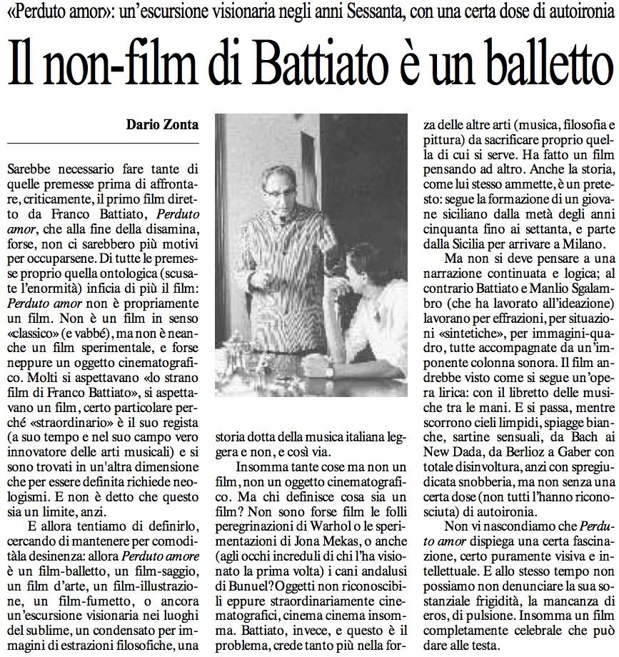 Il non-film di Battiato è un balletto