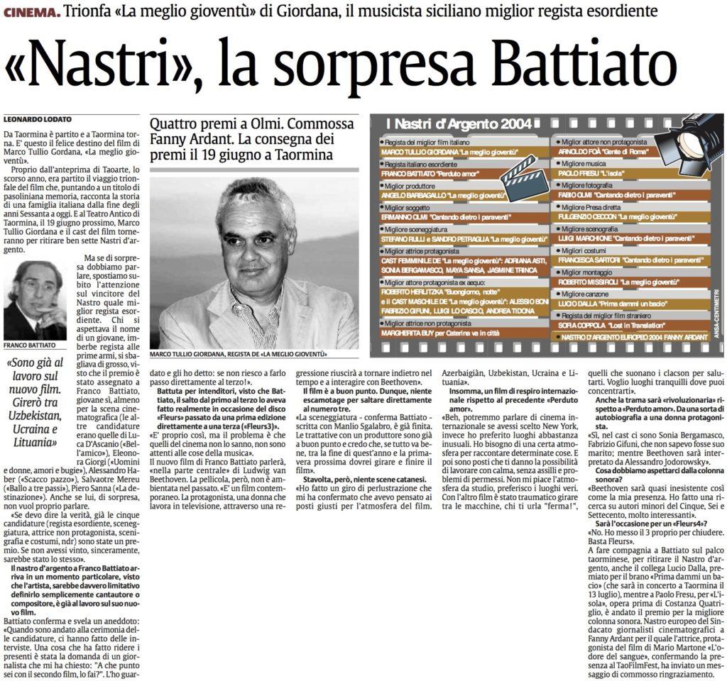 «Nastri», la sorpresa Battiato