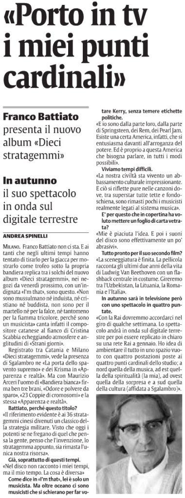 «Porto in tv i miei punti cardinali»