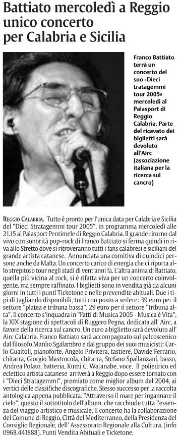 Battiato mercoledì a Reggio unico concerto per Calabria e Sicilia