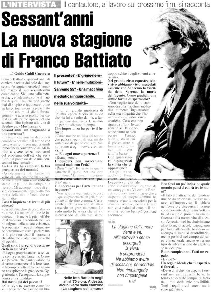 Sessant'anni La nuova stagione di Franco Battiato