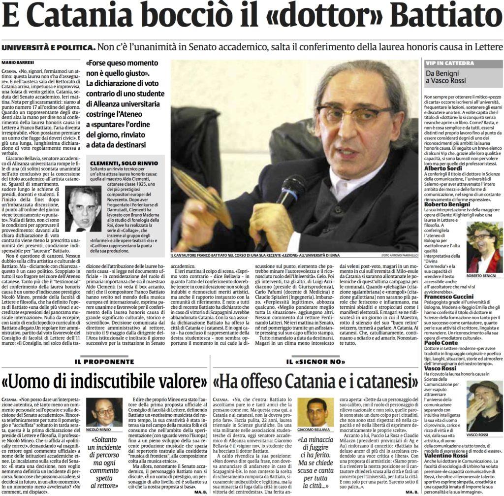 E Catania boccio il dottor Battiato