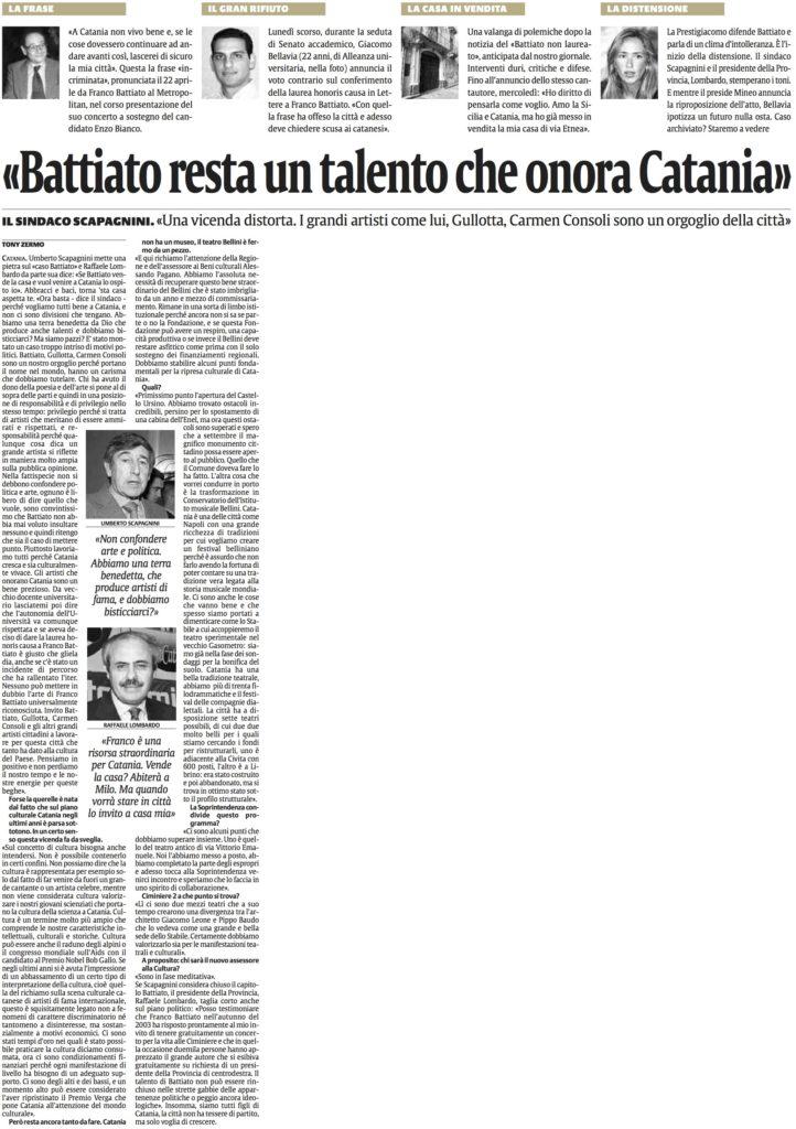 «Battiato resta un talento che onora Catania»