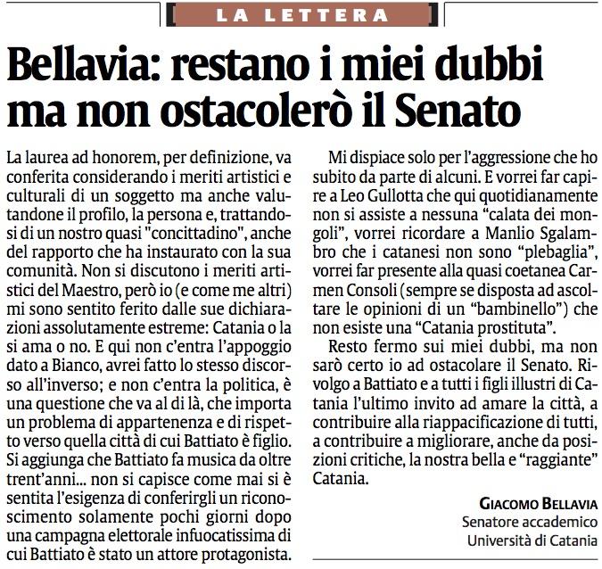 Bellavia: restano i miei dubbi ma non ostacolerò il Senato
