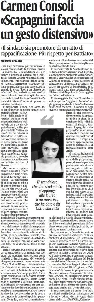 Carmen Consoli «Scapagnini faccia un gesto distensivo»
