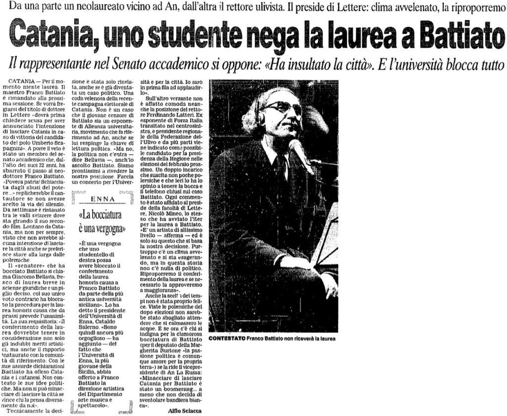 Catania, uno studente nega la laurea a Battiato