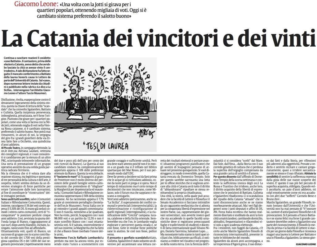 La Catania dei vincitori e dei vinti
