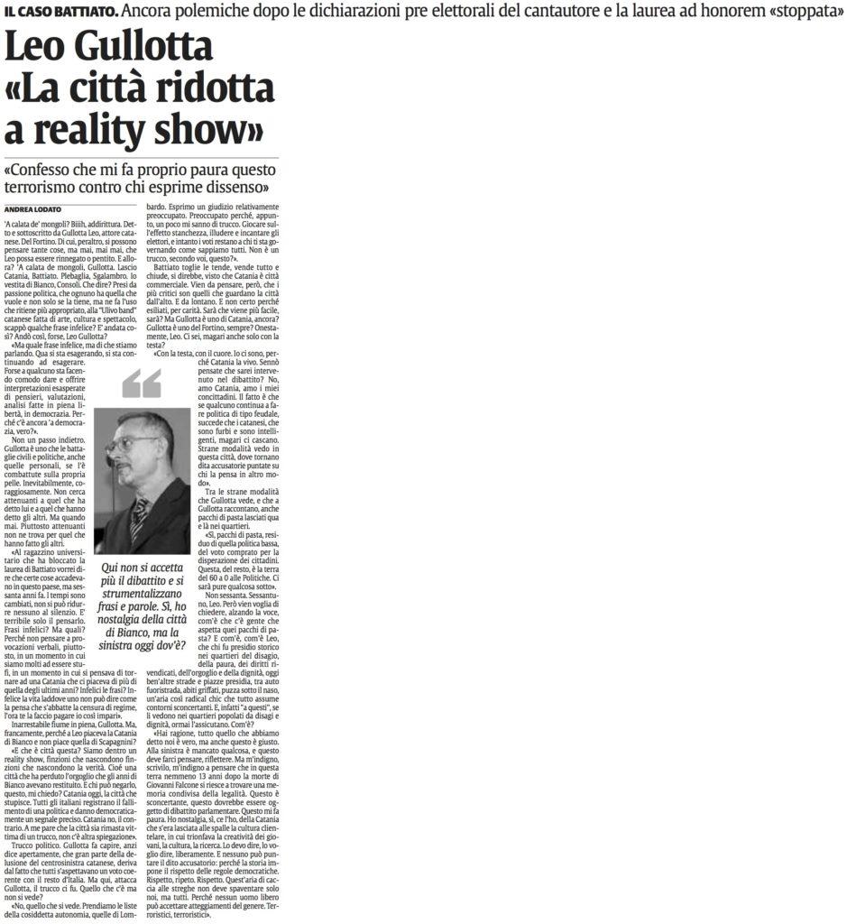 Leo Gullotta «La città ridotta a reality show»