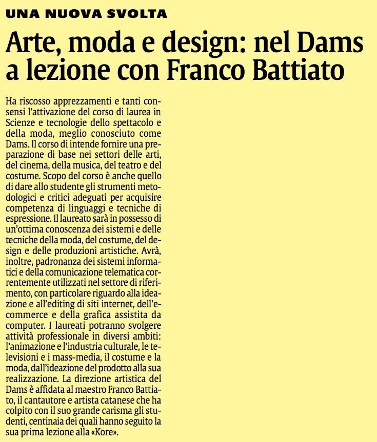 Arte, moda e design: nel Dams a lezione con Franco Battiato