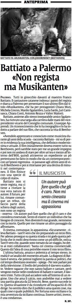 Battiato a Palermo «Non regista ma Musikanten»