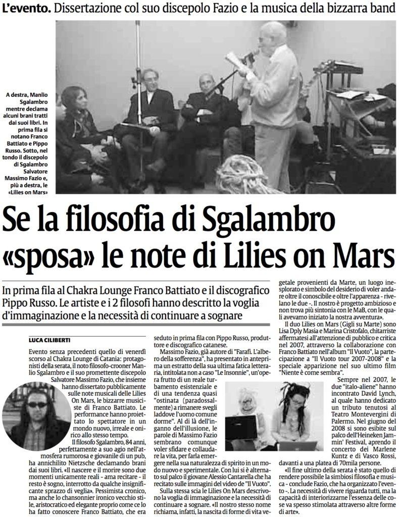 Se la filosofia di Sgalambro «sposa» le note di Lilies on Mars