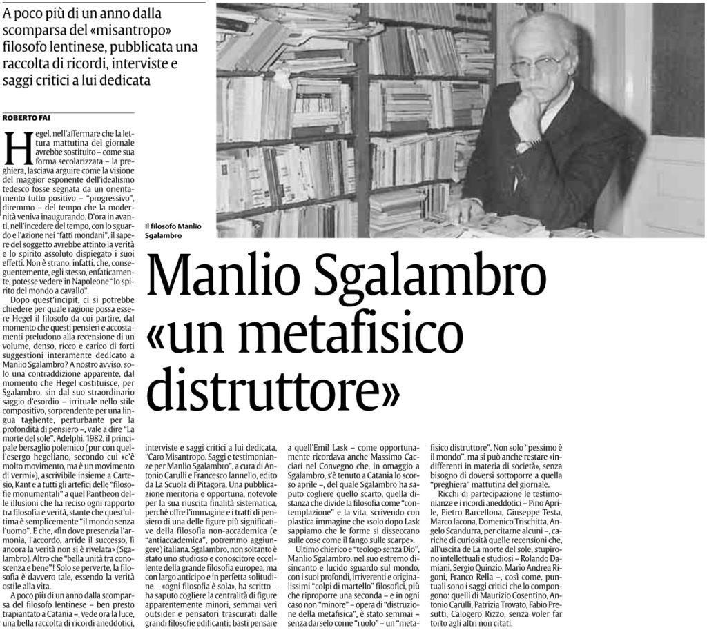 Manlio Sgalambro «un metafisico distruttore»