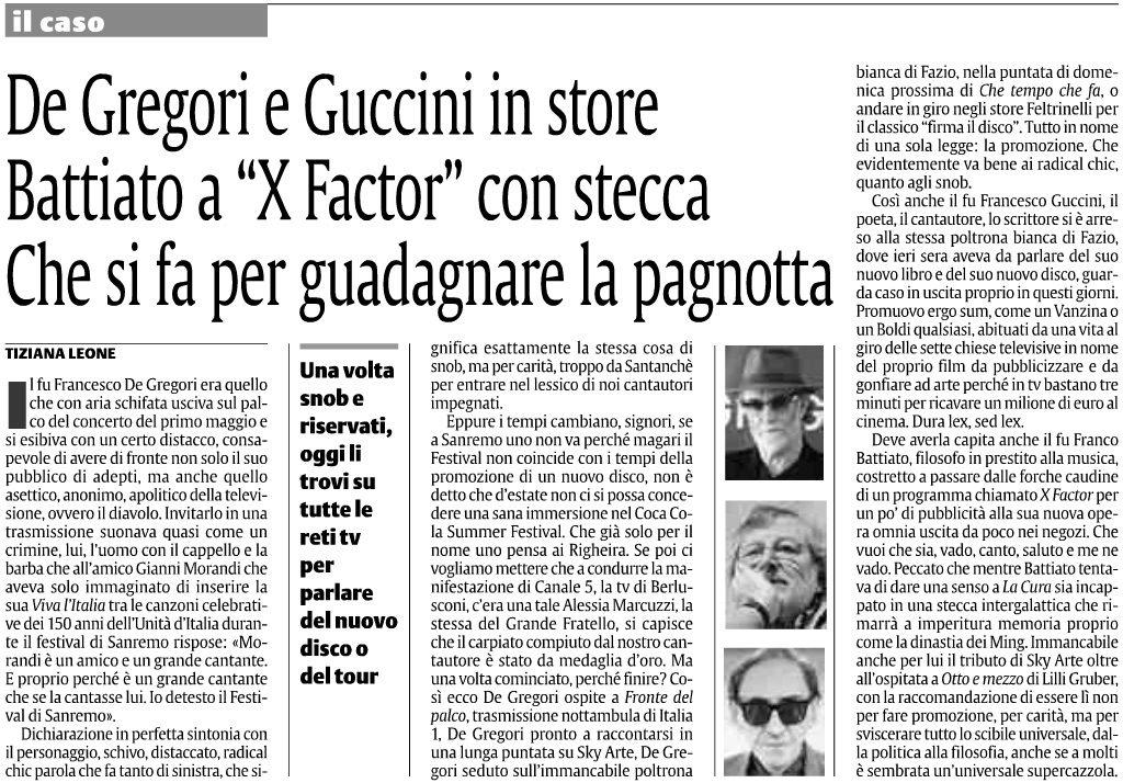 """De Gregori e Guccini in store Battiato a """"X Factor"""" con stecca Che si fa per guadagnare la pagnotta"""