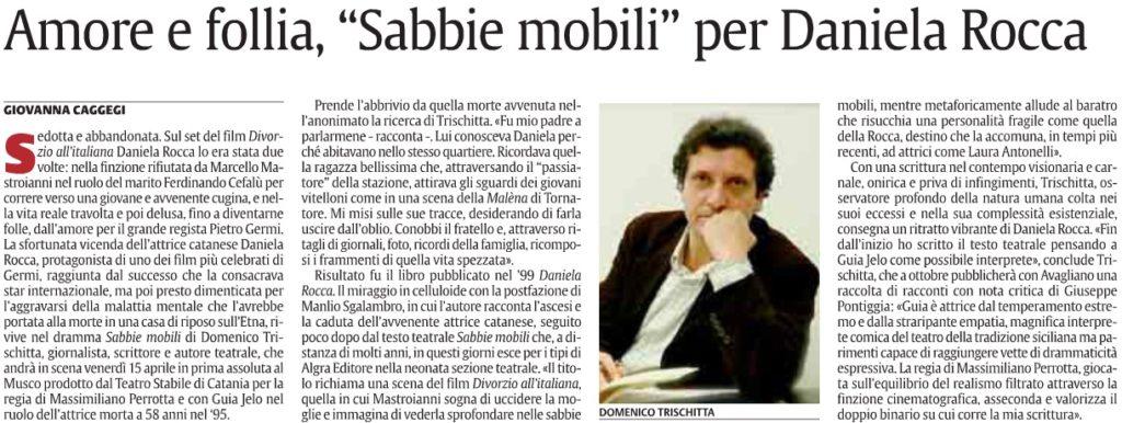 "Amore e follia, ""Sabbie mobili"" per Daniela Rocca"