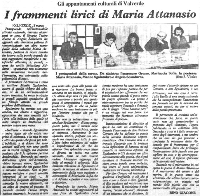 I frammenti lirici di Maria Attanasio