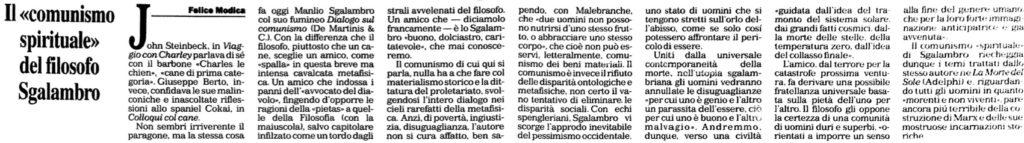 Il comunismo spirituale del filosofo Sgalambro