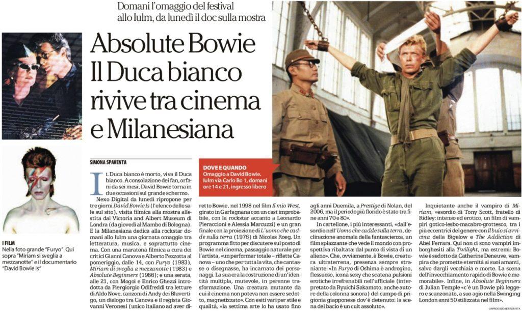 Absolute Bowie Il Duca bianco rivive tra cinema e Milanesiana