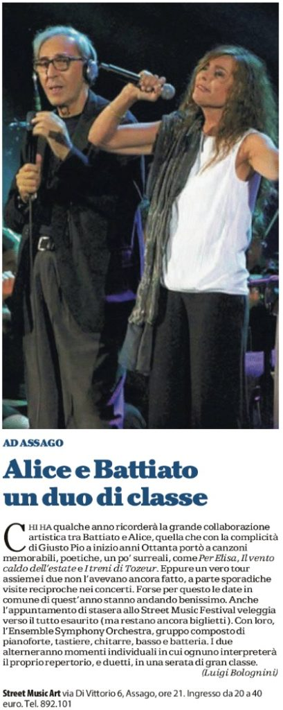 Alice e Battiato un duo di classe